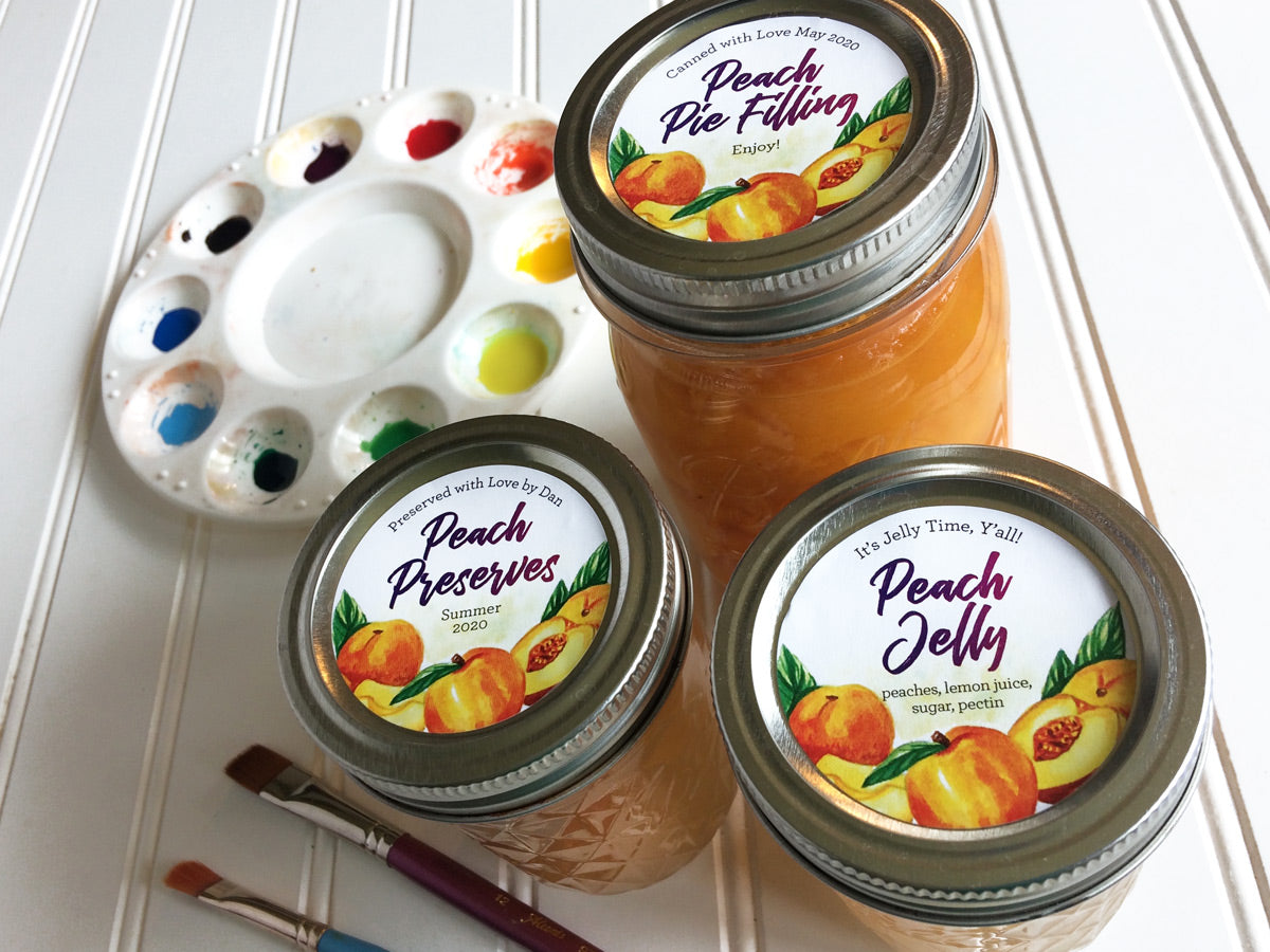 Custom Watercolor Peach Canning Labels for Jam, Jelly, Preserves, and Pie Filling | CanningCrafts.com