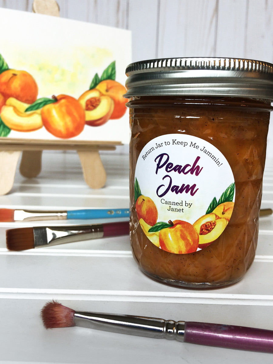 Custom Watercolor Peach Jam Jar Labels | CanningCrafts.com