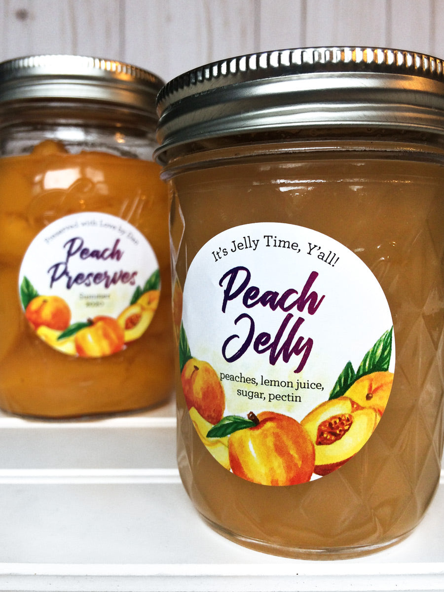 Custom Watercolor Peach Jelly and Preserves Canning Labels for home preserved food in mason jars | CanningCrafts.com