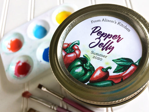 Custom Watercolor Pepper Canning Labels for jelly | CanningCrafts.com