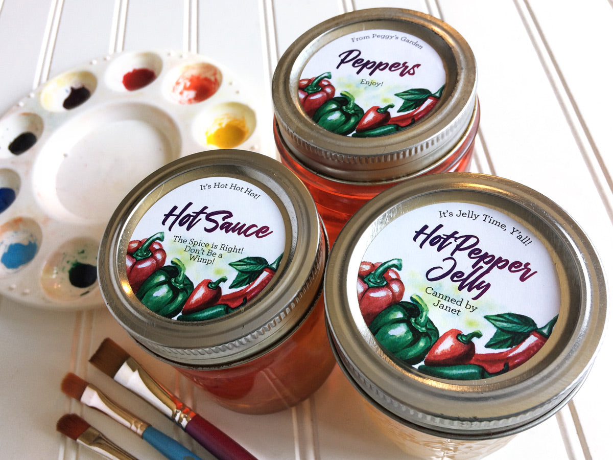 Custom Watercolor Hot Pepper Jelly and Hot Sauce Canning Labels | CanningCrafts.com