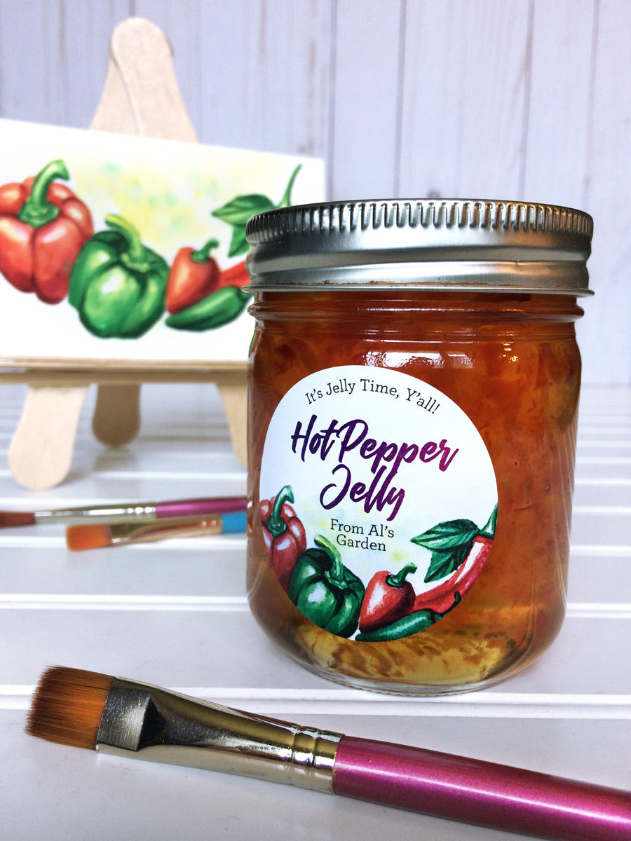 Custom Watercolor Hot Pepper Jelly Canning Labels | CanningCrafts.com