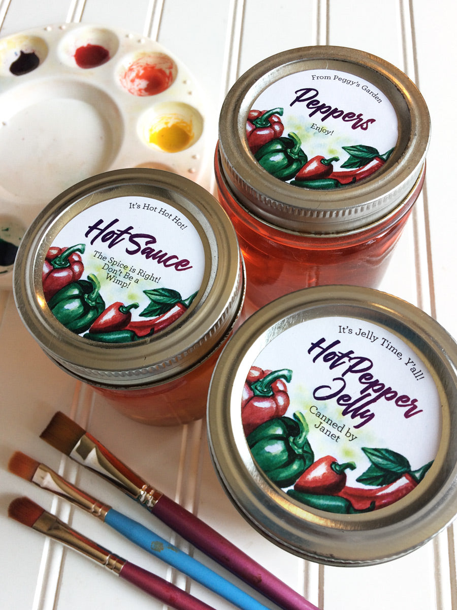 Custom Watercolor Pepper Mason Canning Jar Labels for regular and wide mouth lids | CanningCrafts.com