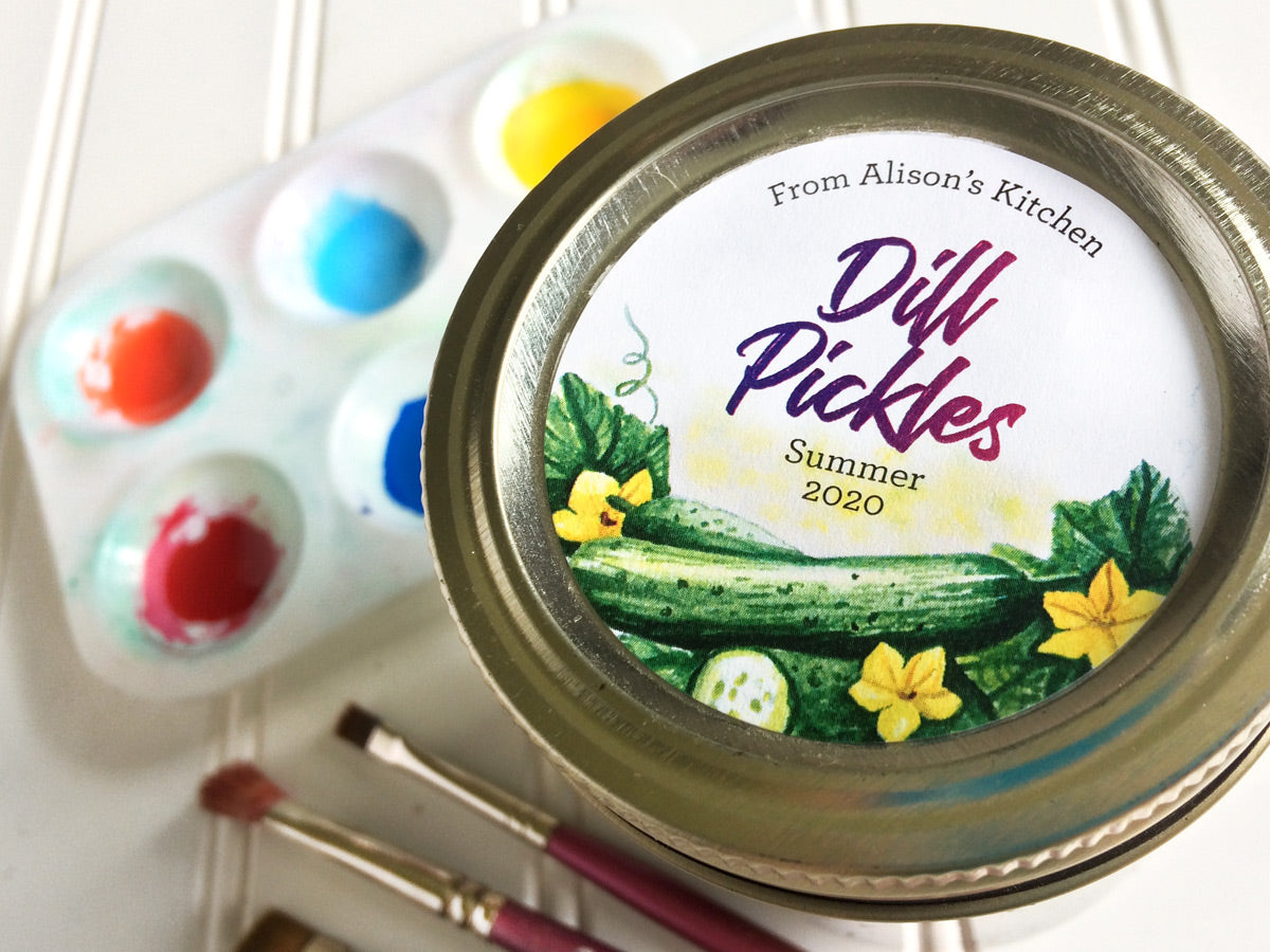 Custom Watercolor Dill Pickle Canning Labels | CanningCrafts.com