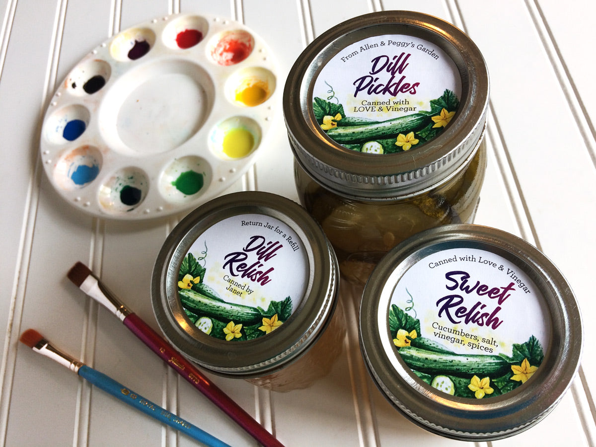 Custom Watercolor Dill Pickle and Sweet Relish Mason Canning Jar Labels | CanningCrafts.com