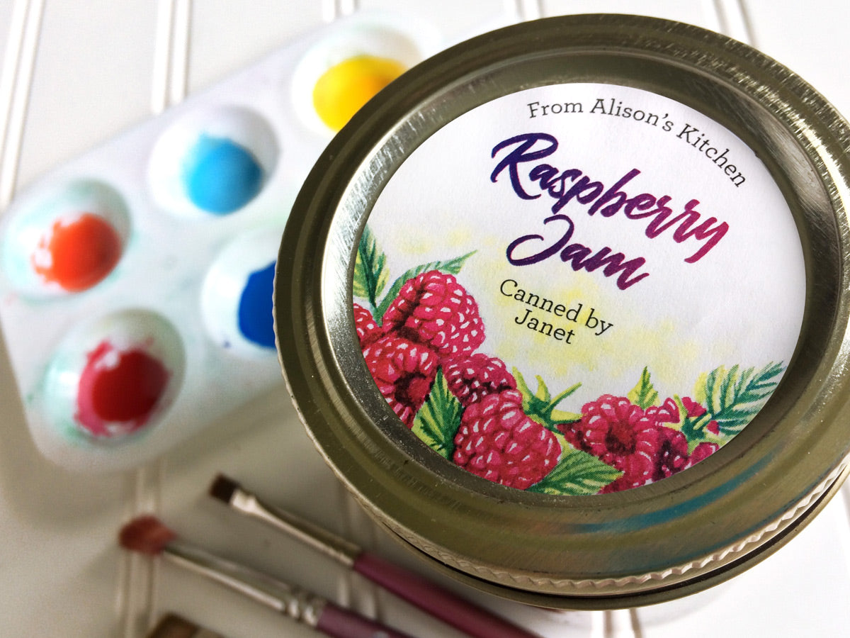Custom Watercolor Raspberry Jam Canning Labels | CanningCrafts.com