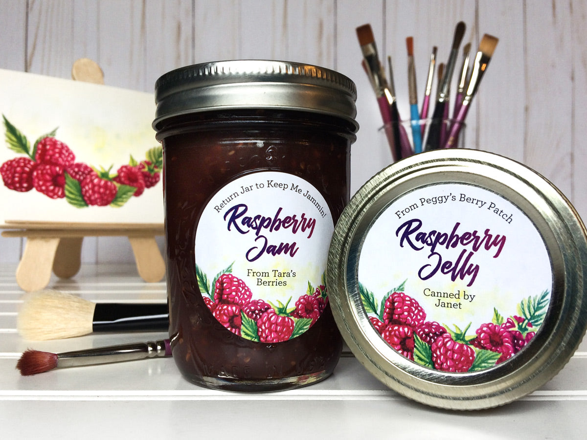 Custom Watercolor Raspberry Jam and Jelly Canning Labels | CanningCrafts.com