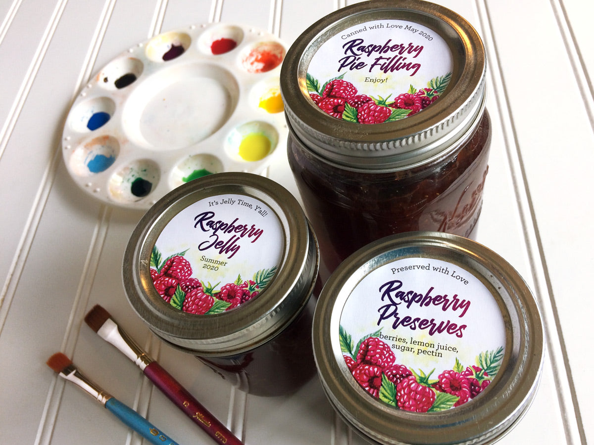 Custom Watercolor Raspberry Jelly and Preserves Mason Canning Jar Labels | CanningCrafts.com
