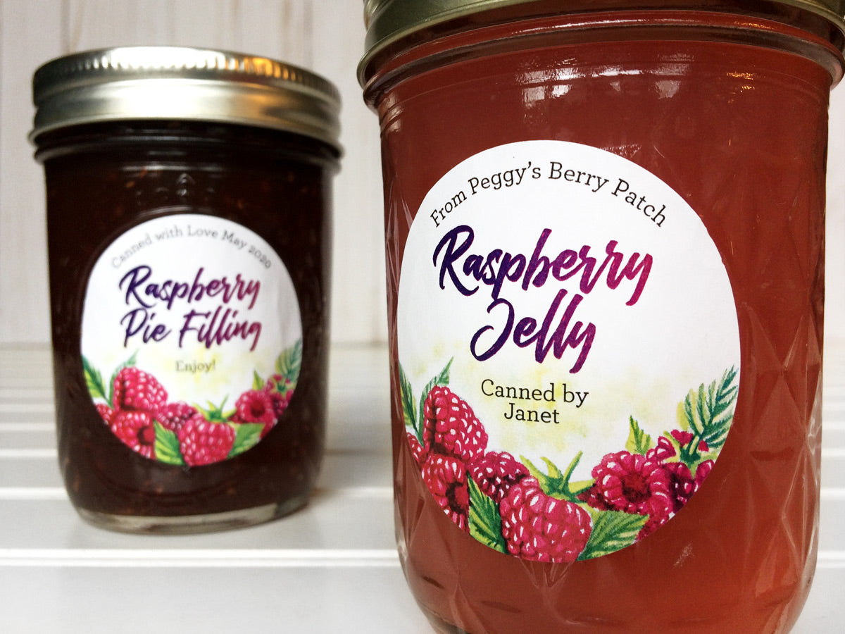 Custom Watercolor Raspberry Jelly Jar Labels for home canning | CanningCrafts.com