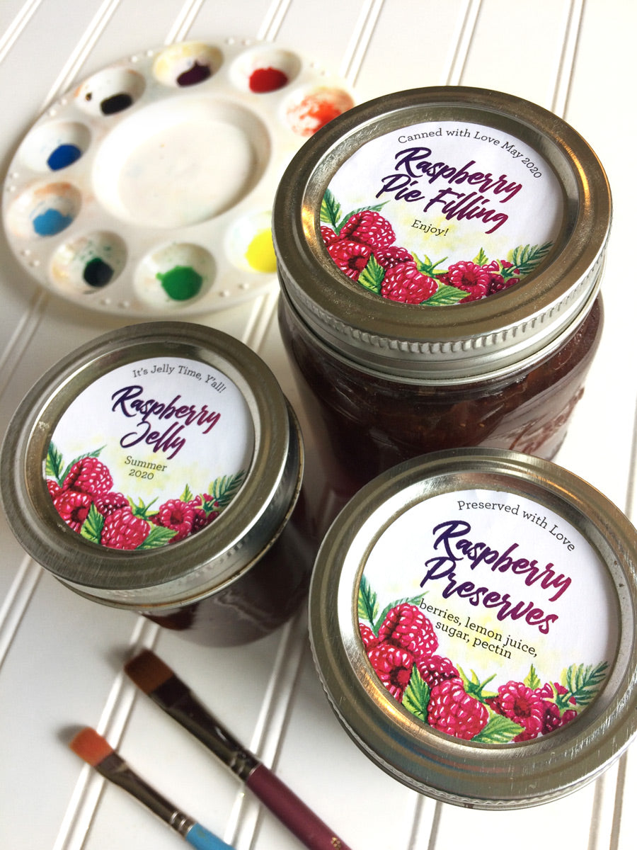 Custom Watercolor Raspberry Jam, Jelly, and Preserves Mason Canning Jar Labels | CanningCrafts.com