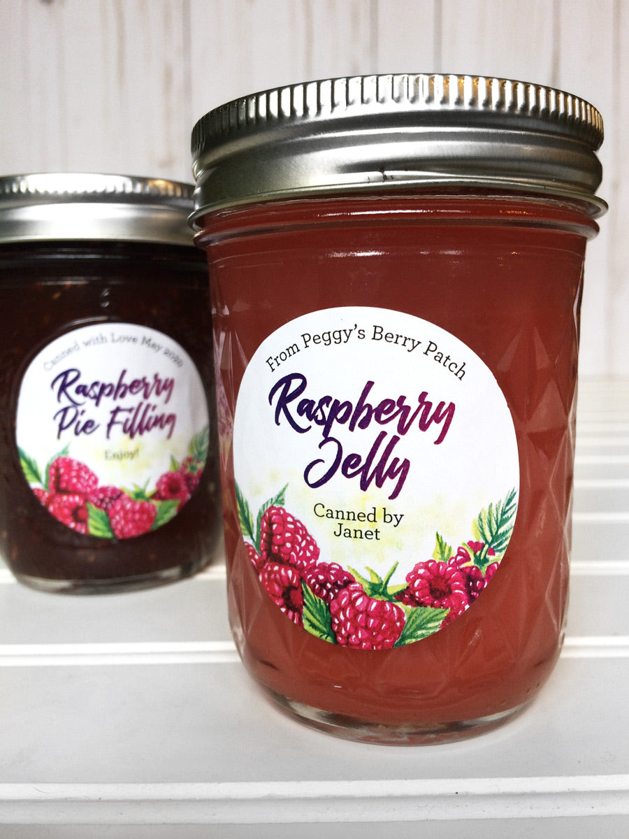 Custom Watercolor Raspberry Jelly Jar Labels | CanningCrafts.com