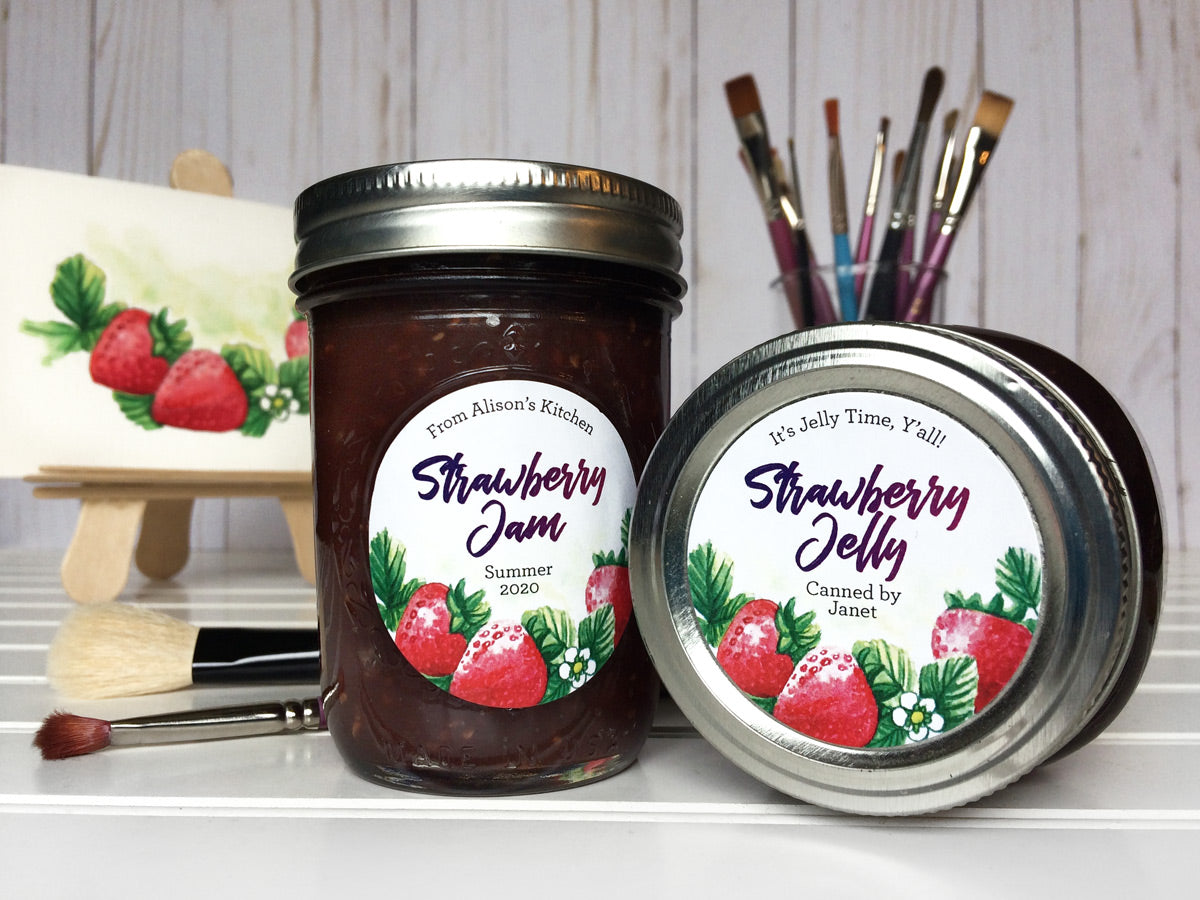Custom Watercolor Strawberry Jam and Jelly Canning Jar Labels | CanningCrafts.com
