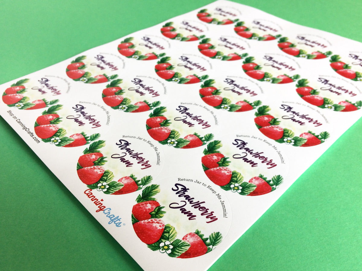 Custom Watercolor Strawberry Jam Canning Labels | CanningCrafts.com