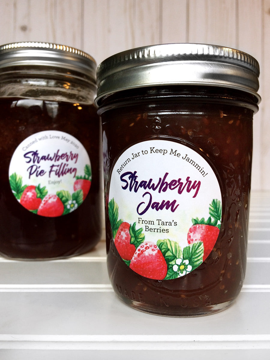 Custom Watercolor Strawberry Jam Jar Labels | CanningCrafts.com