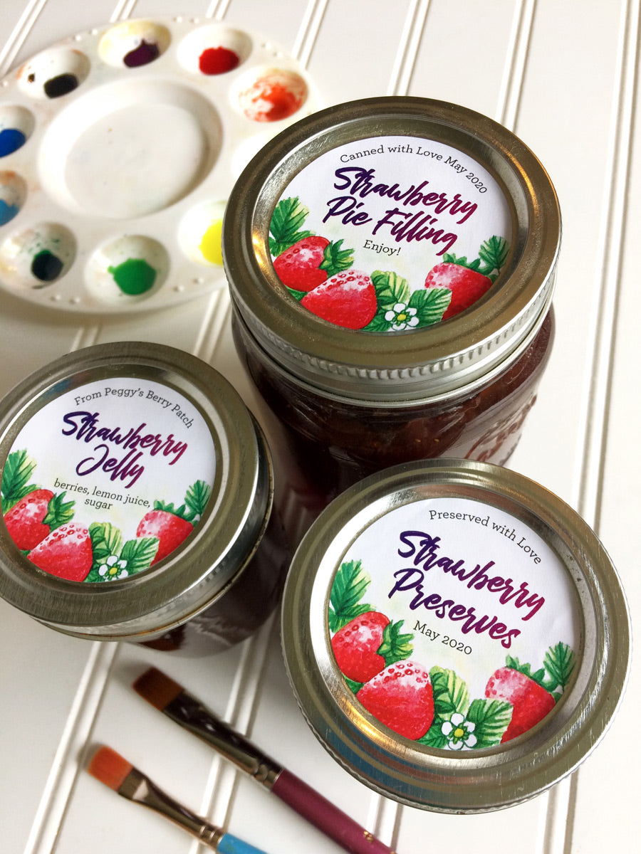 Custom Watercolor Strawberry Jam, Jelly, and Preserves Mason Canning Jar Labels | CanningCrafts.com