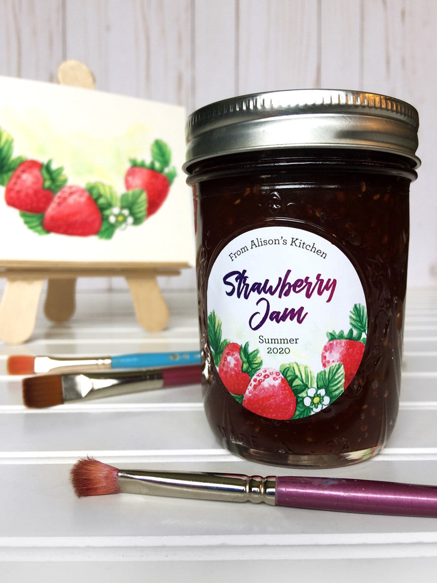 Custom Watercolor Strawberry Jam Canning Jar Labels | CanningCrafts.com
