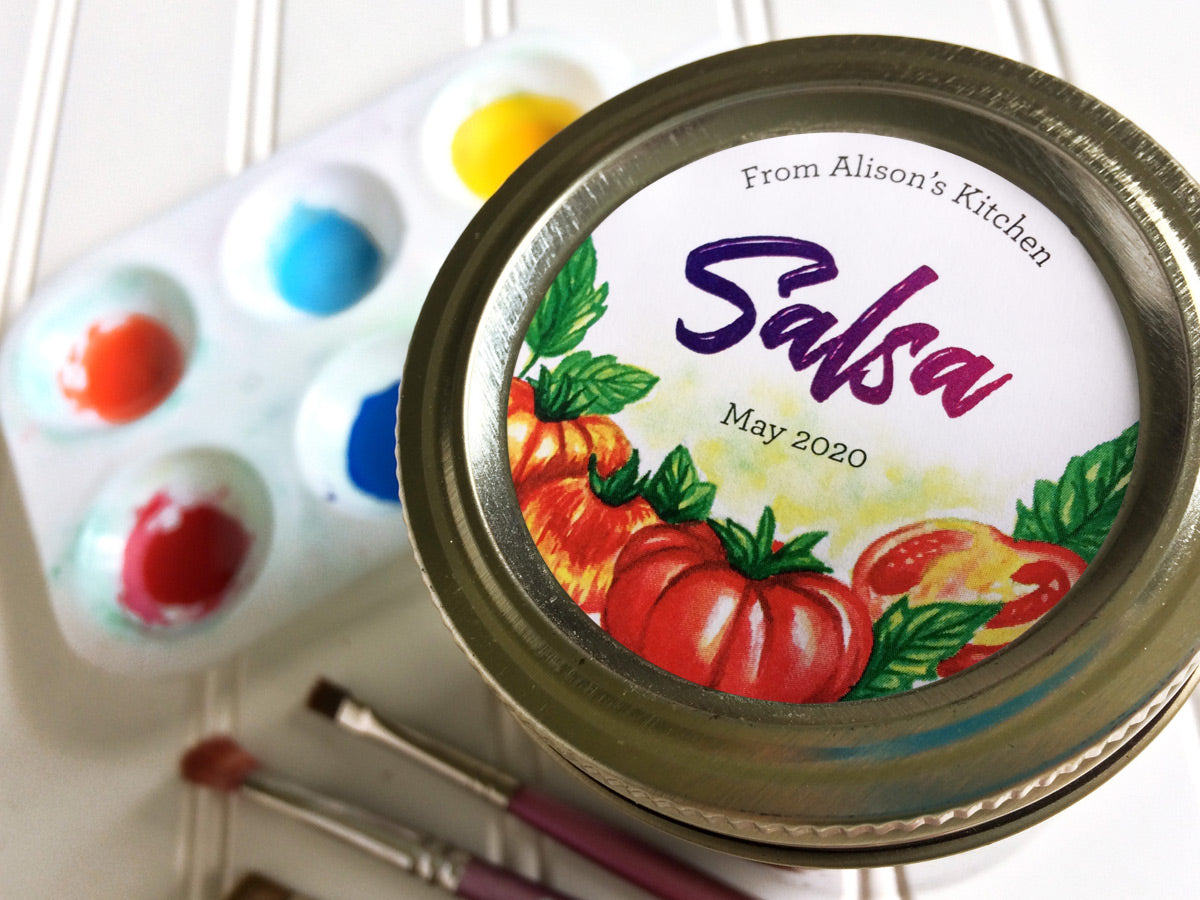 Custom Watercolor Tomato Salsa Canning Labels | CanningCrafts.com