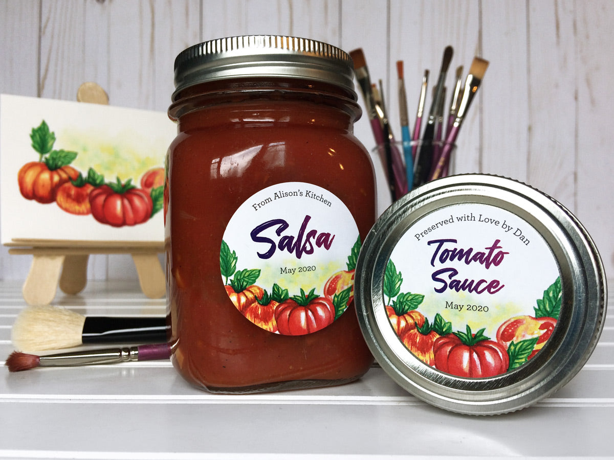 Custom Watercolor Tomato Salsa and Sauce Mason Canning Jar Labels | CanningCrafts.com