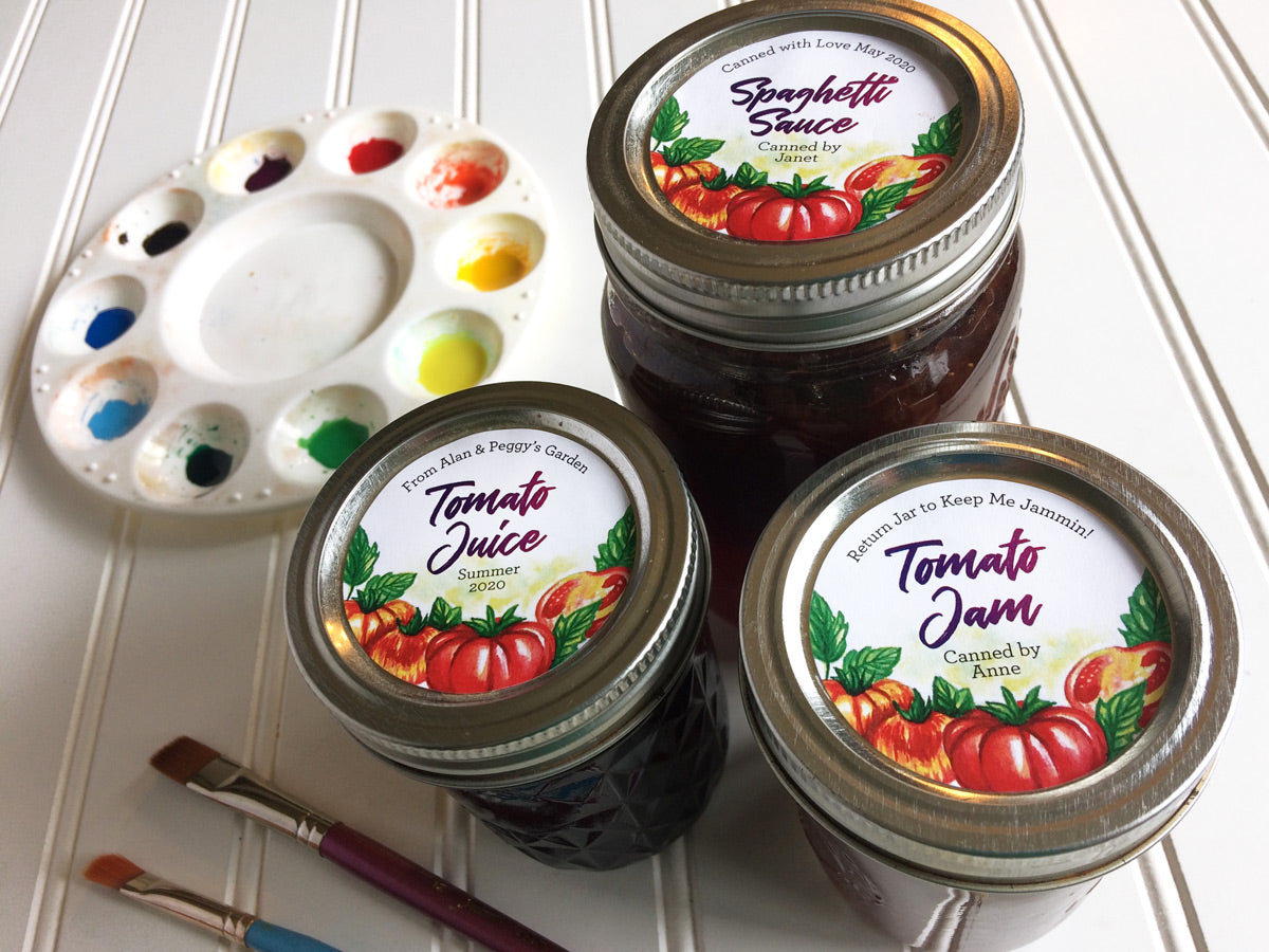 Custom Watercolor Tomato Canning Labels for Spaghetti Sauce, Juice, Salsa, or Jam | CanningCrafts.com
