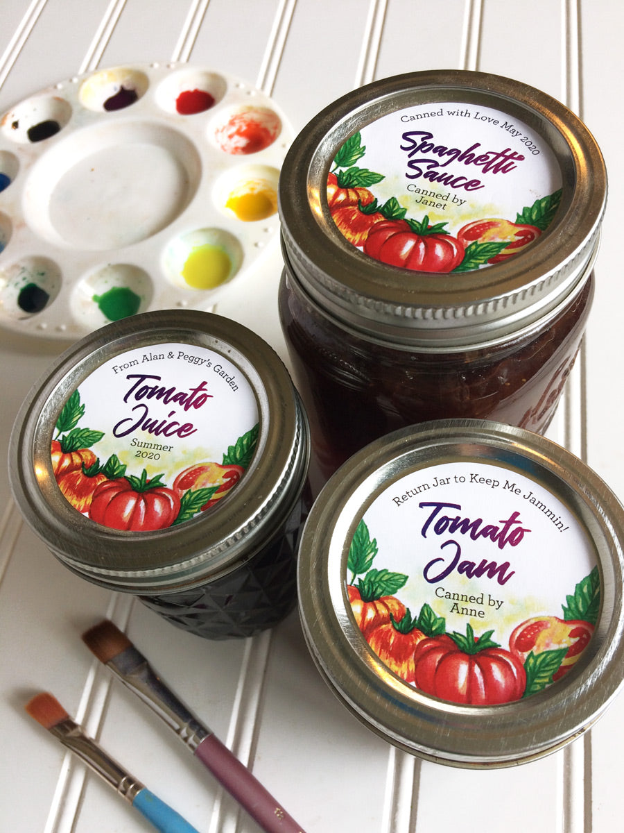 Custom Watercolor Tomato Canning Labels for Home Preserved Jam, Juice, Pizza or Spaghetti Sauce | CanningCrafts.com