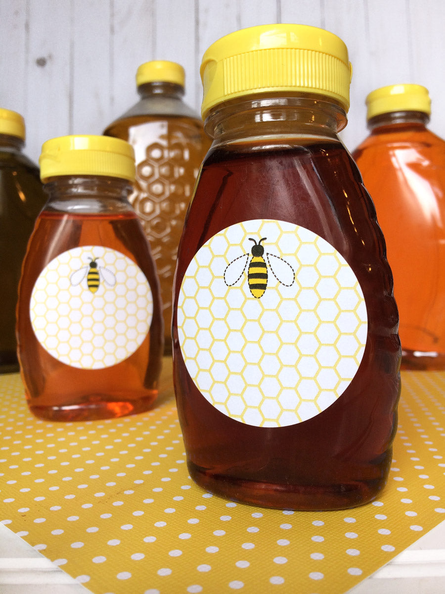 Cute Honey Bee Bottle Label | CanningCrafts.com