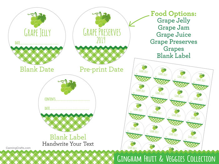 Gingham Green Grape Canning Labels | CanningCrafts.com