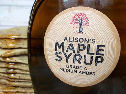 Custom Kraft Harvest Time Maple Syrup Labels | CanningCrafts.com