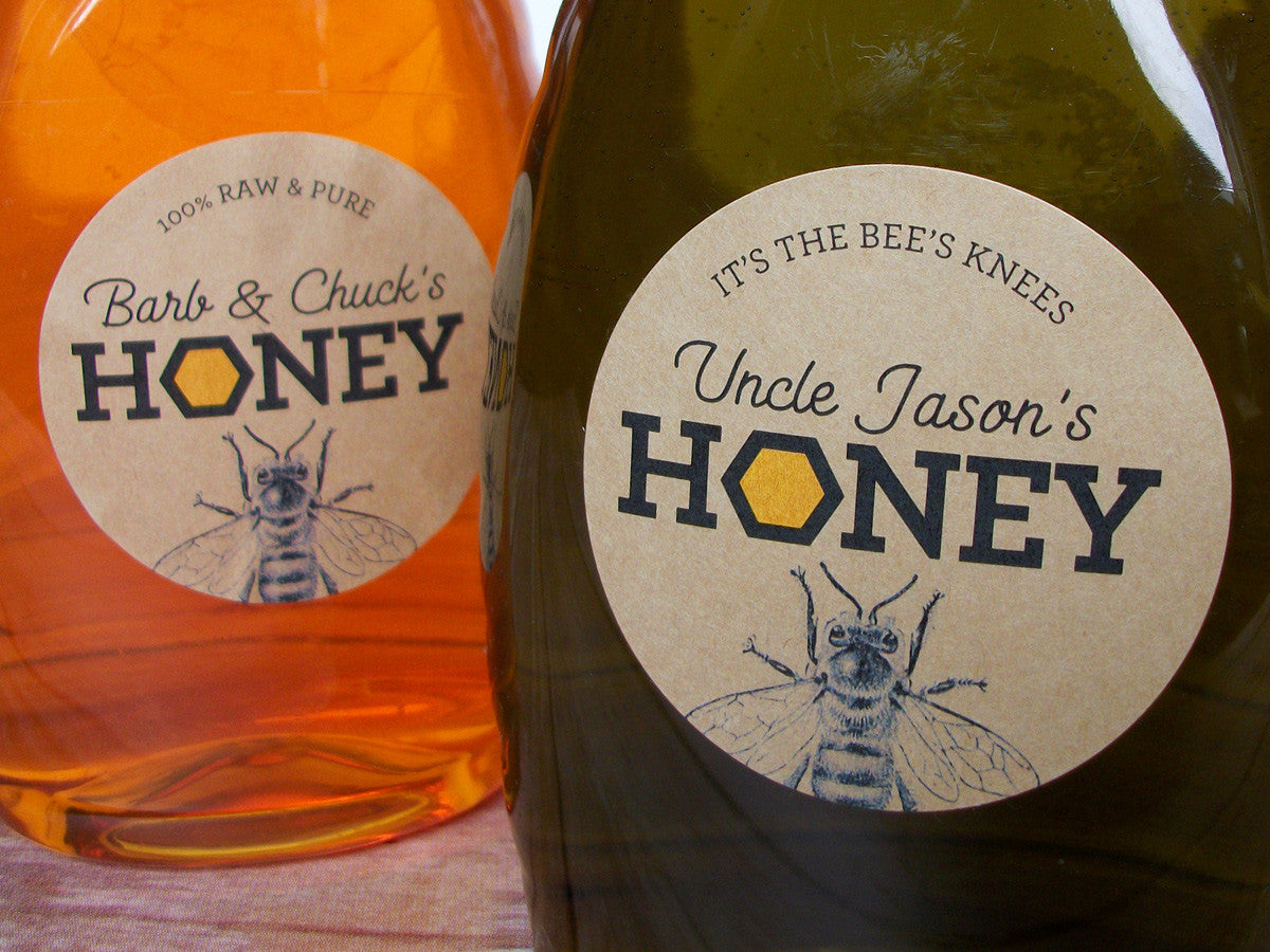 Custom Kraft Honeycomb honey labels | CanningCrafts.com