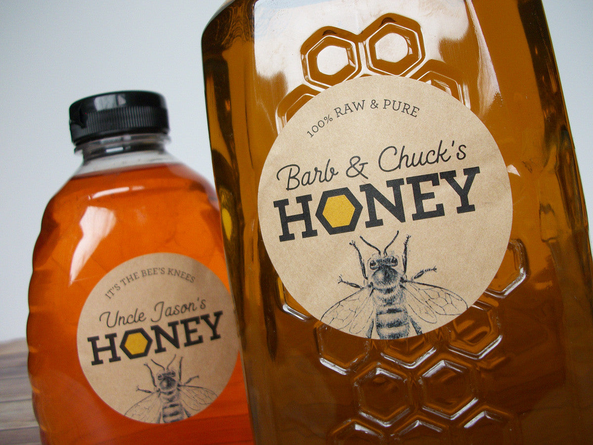 custom kraft paper honey labels | CanningCrafts.com