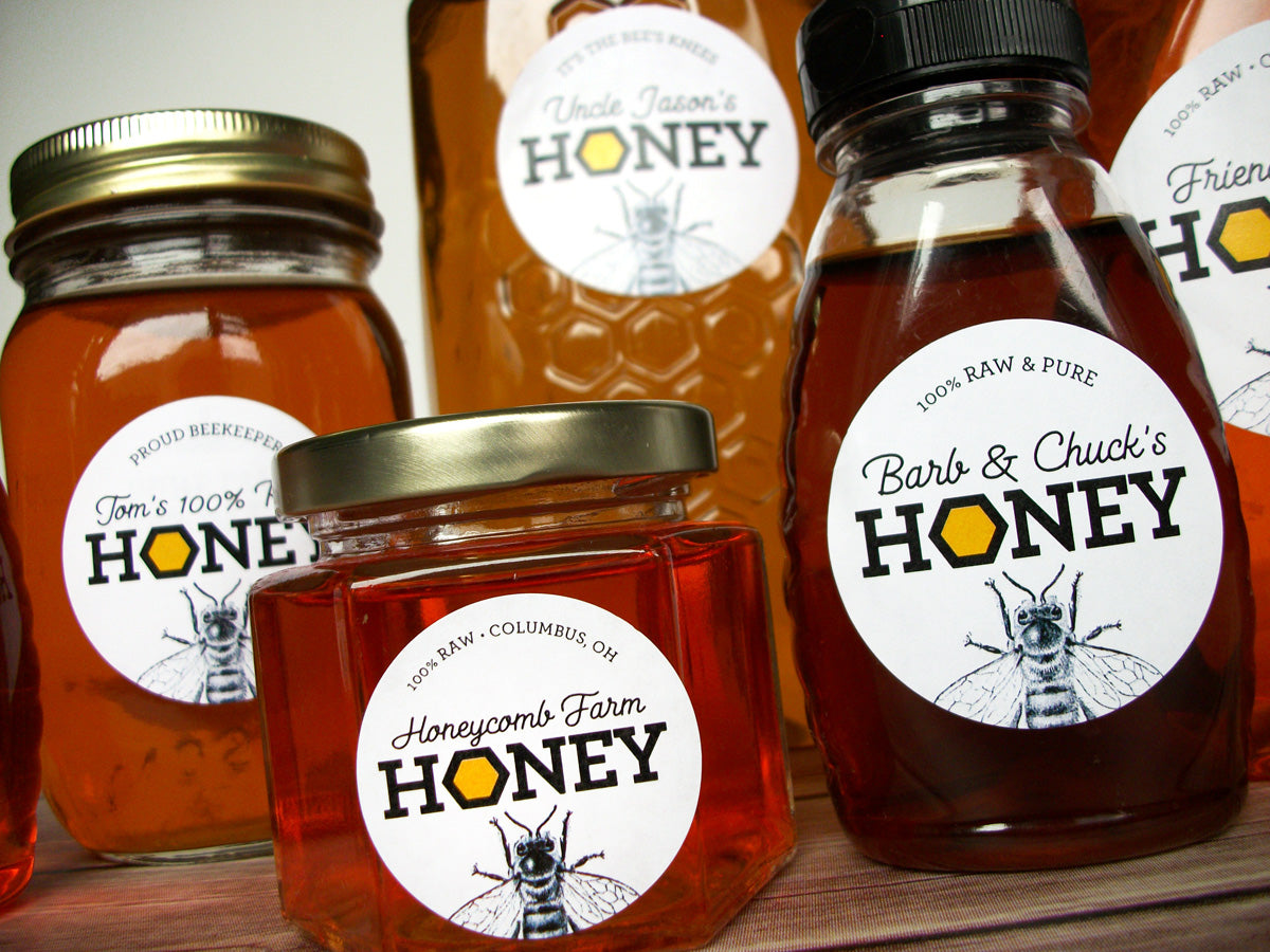 Custom Honeycomb Honey Jar Labels | CanningCrafts.com