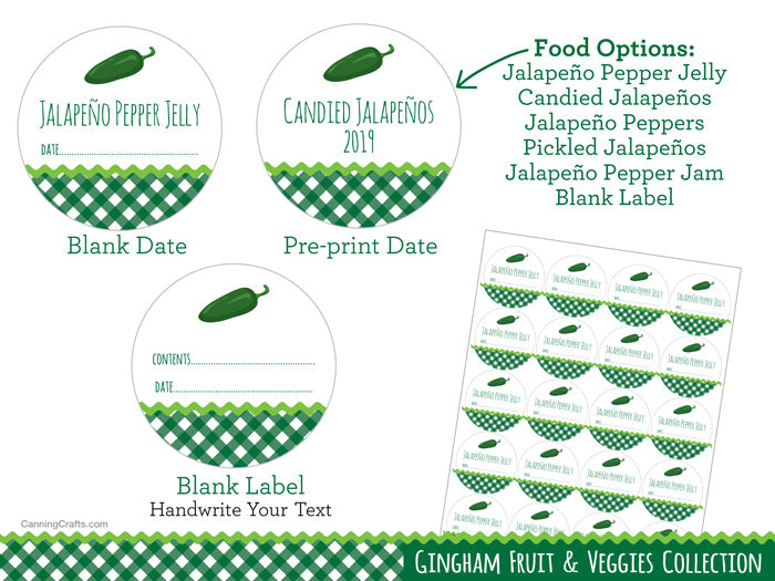 Gingham Jalapeno Pepper Jelly, Jam, Pickled, and Candied Peppers Canning Labels | CanningCrafts.com