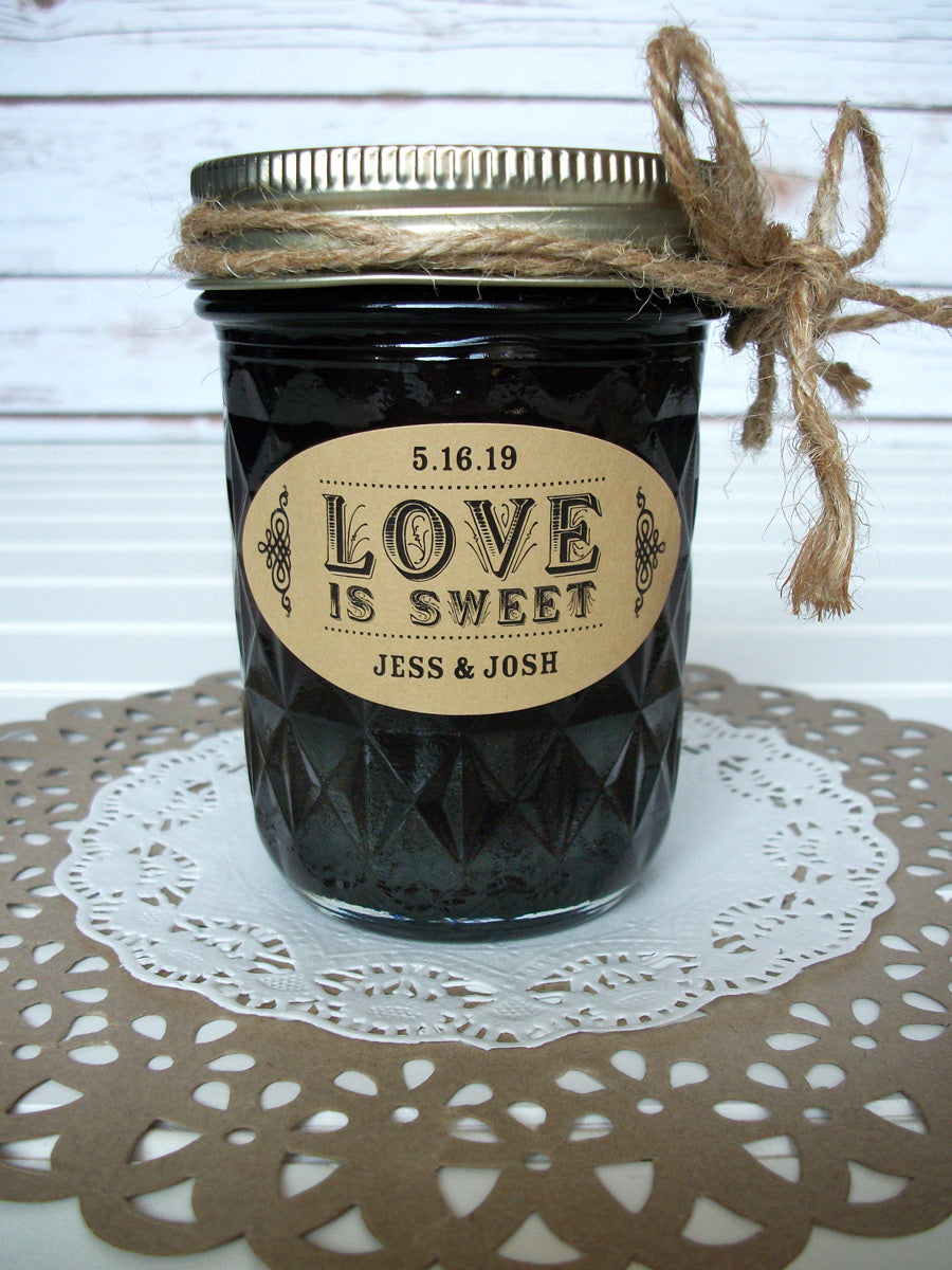 kraft oval Love is Sweet wedding canning labels | CanningCrafts.com
