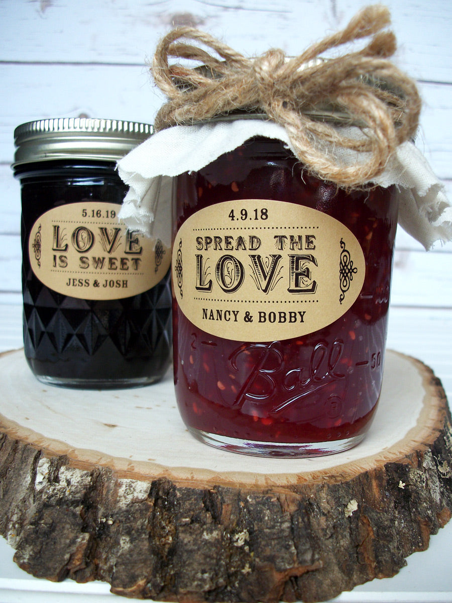 Spread the Love & Love is Sweet kraft oval wedding canning labels | CanningCrafts.com