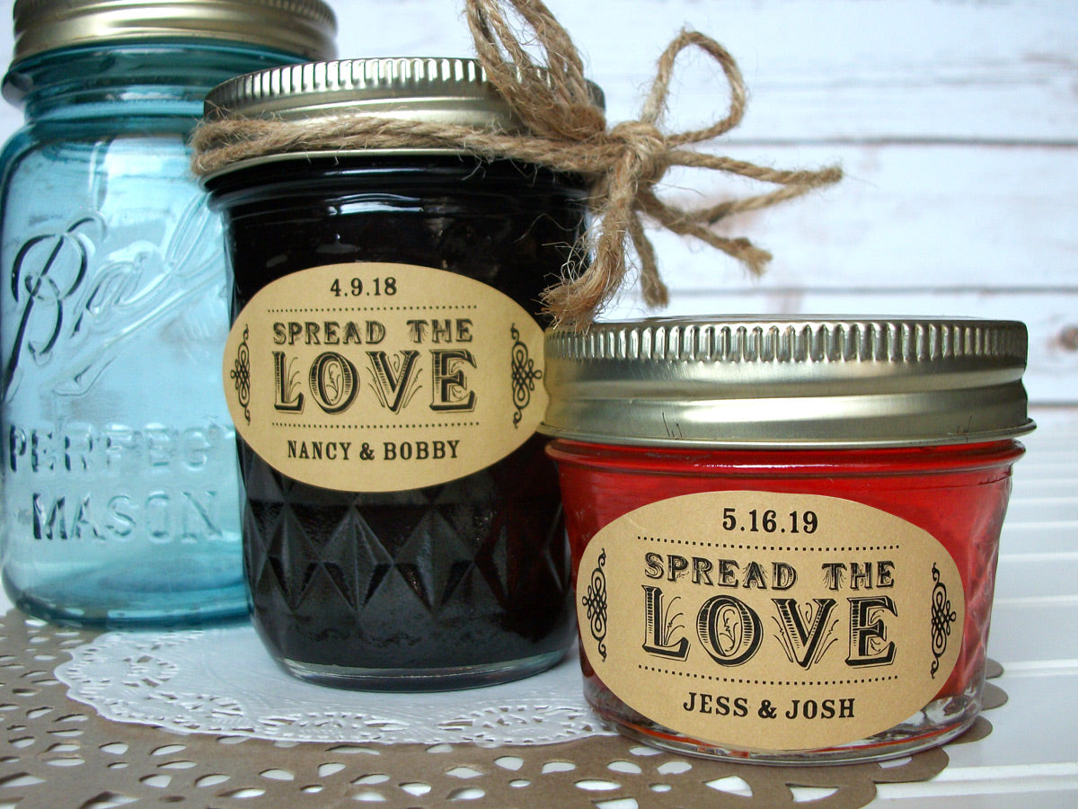 Kraft Paper Oval Spread the Love wedding jam jar favor labels | CanningCrafts.com