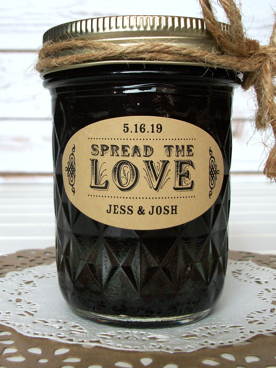 Kraft Paper Oval Spread the Love wedding canning labels | CanningCrafts.com