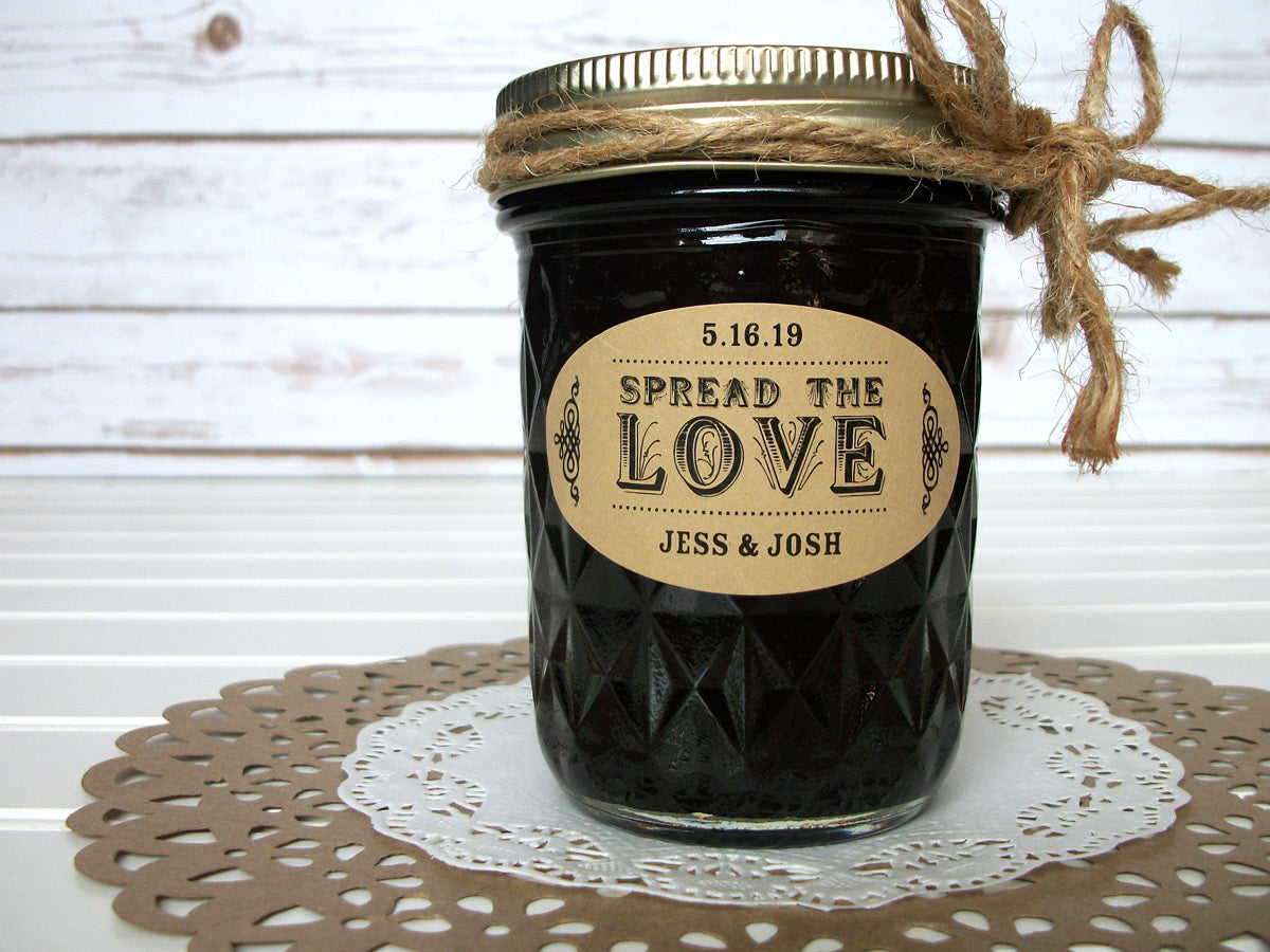 kraft oval Spread the Love wedding canning labels | CanningCrafts.com
