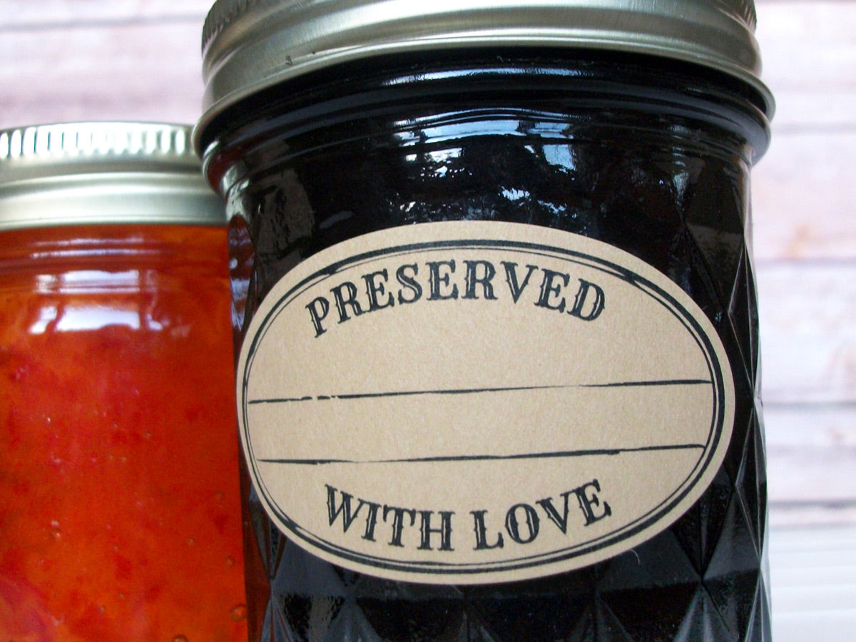 Kraft Stamped Preserved With Love Oval Canning Labels | CanningCrafts.com