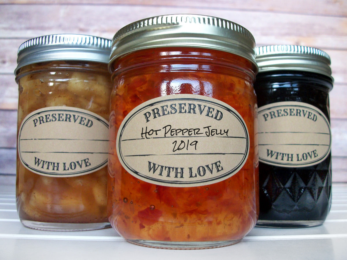 Kraft Stamped Preserved With Love Oval Mason Canning Jar Labels | CanningCrafts.com
