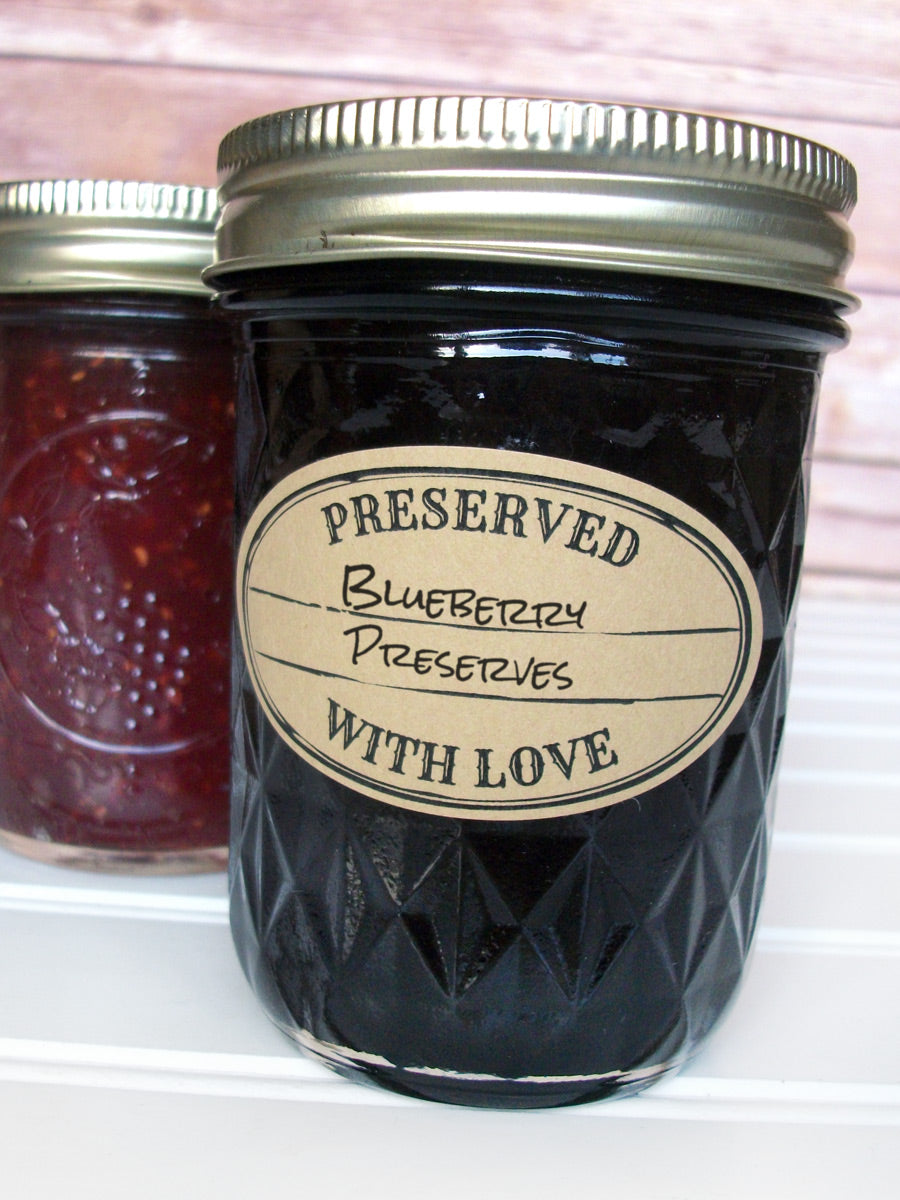 Kraft Stamped Preserved With Love Oval Jam & Jelly Jar Labels | CanningCrafts.com