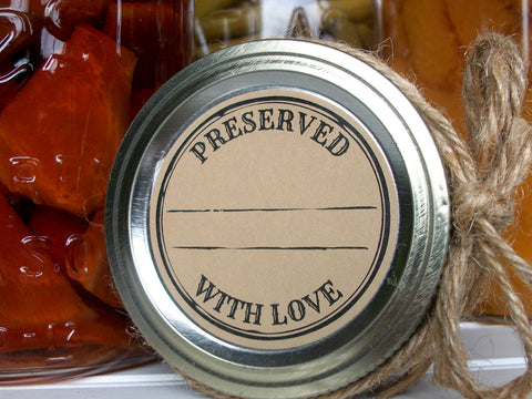 Kraft Stamped Preserved With Love Canning Labels | CanningCrafts.com