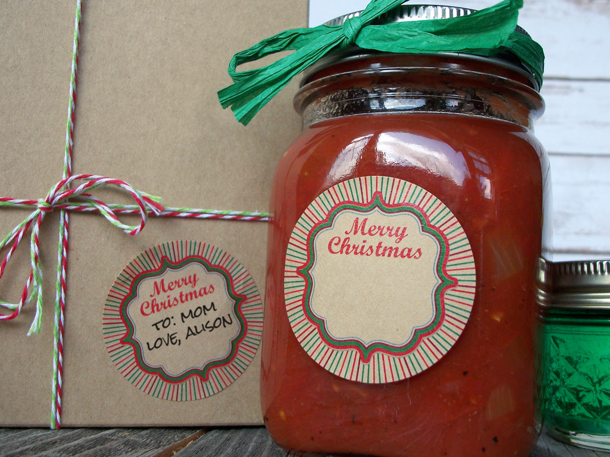 Kraft Merry Christmas Canning Jar Labels | CanningCrafts.co