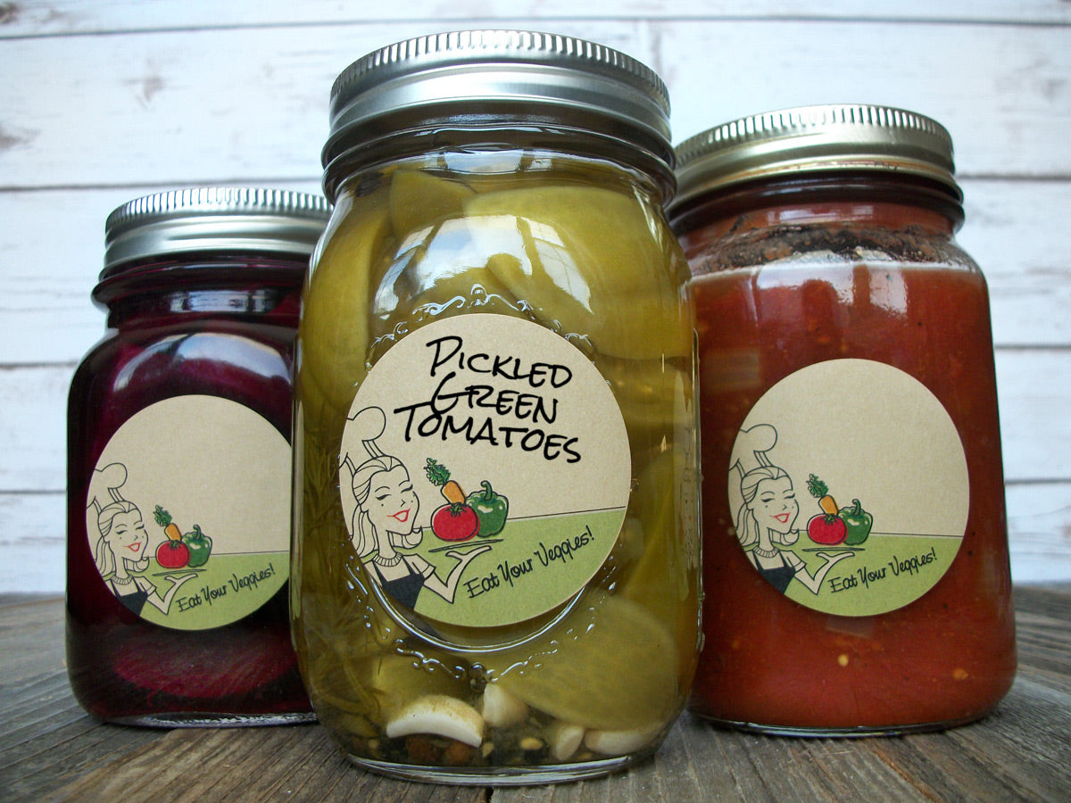 Kraft Eat Your Vegetables Mason Canning Jar Labels | CanningCrafts.com