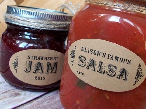 Custom Oval Kraft Canning Labels | CanningCrafts.com