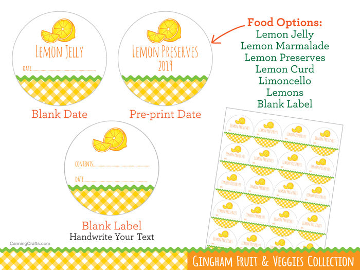 Gingham Lemon marmalade jelly curd limoncello preserves & jelly Canning Jar Labels | CanningCrafts.com