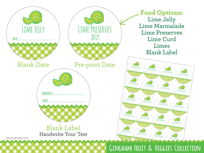 Gingham Lime marmalade, jelly, preserves, & curd canning jar labels | CanningCrafts.com