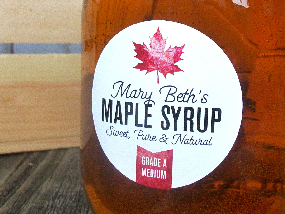 custom Maple Syrup stickers | CanningCrafts.com