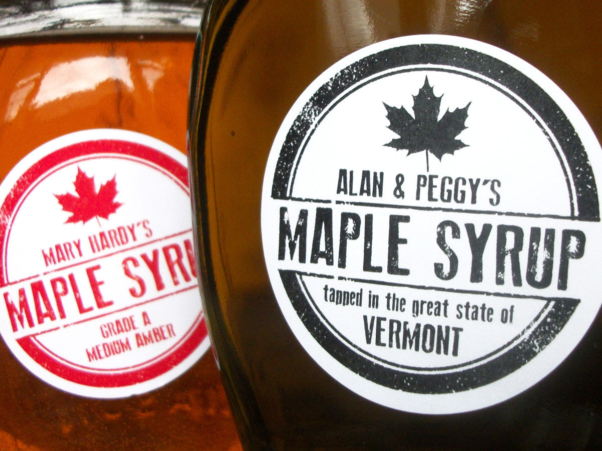 custom rubber stamp Maple Syrup labels | CanningCrafts.com