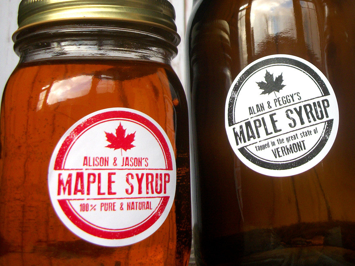 Rubber stamp custom Maple Syrup stickers | CanningCrafts.com