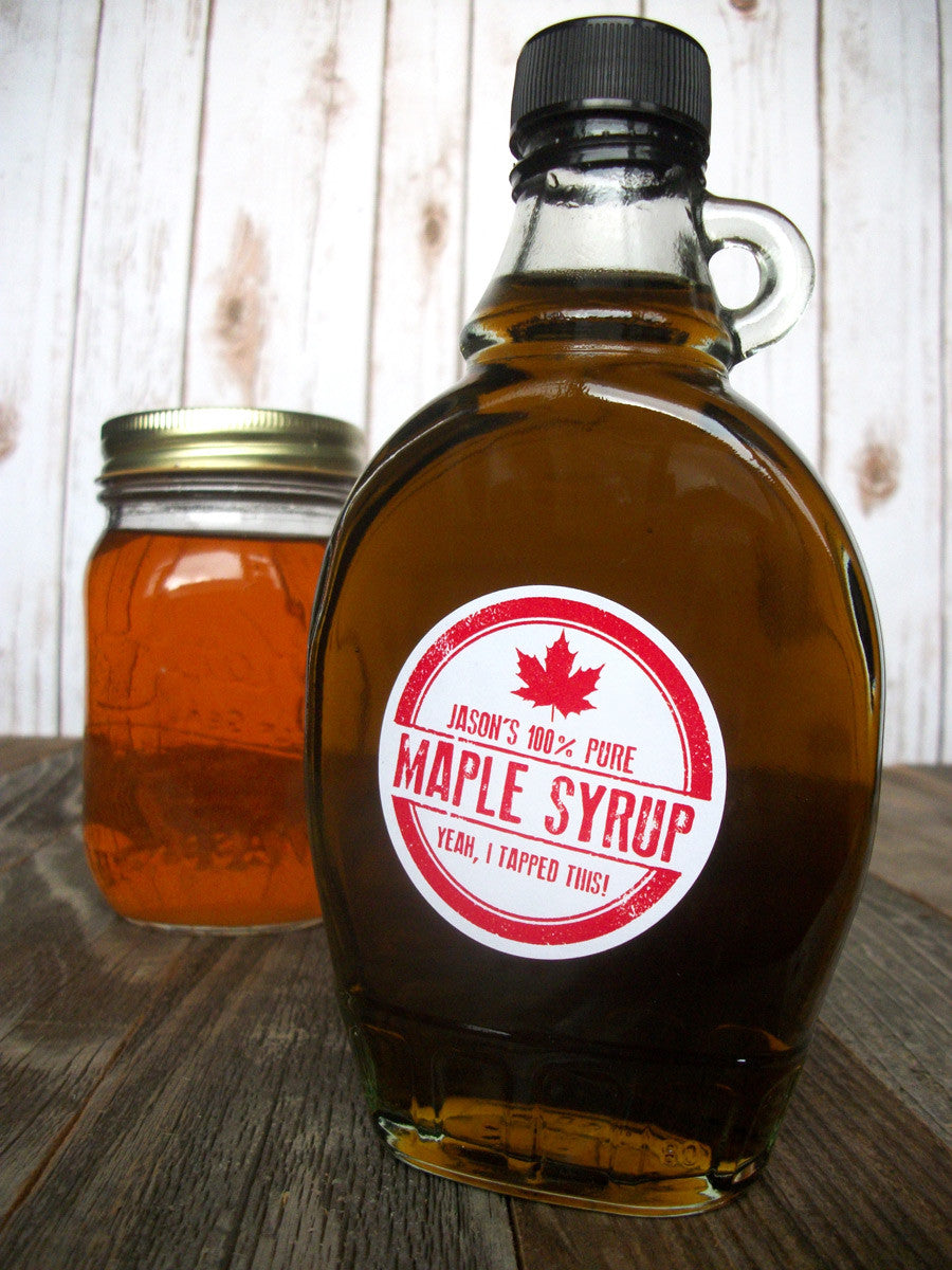 Rubber stamp custom Maple Syrup bottle labels | CanningCrafts.com