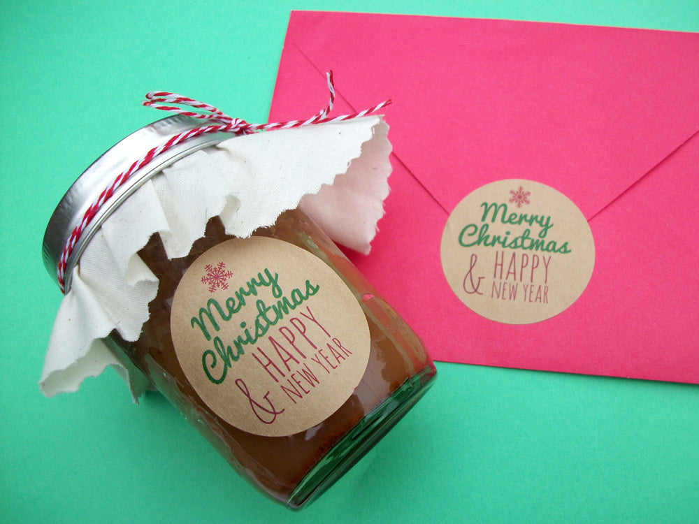 Merry Christmas Happy New Year Canning Labels & Envelope Seals | CanningCrafts.com